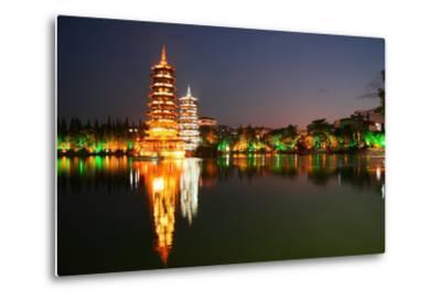 China, Guilin at Night, Double Pagoda 'Riyue Shuang Ta'-Catharina Lux-Metal Print