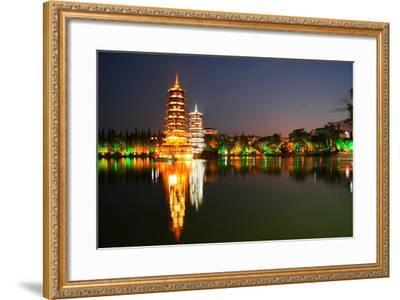 China, Guilin at Night, Double Pagoda 'Riyue Shuang Ta'-Catharina Lux-Framed Photographic Print