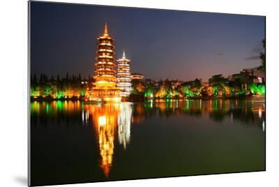 China, Guilin at Night, Double Pagoda 'Riyue Shuang Ta'-Catharina Lux-Mounted Photographic Print