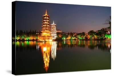 China, Guilin at Night, Double Pagoda 'Riyue Shuang Ta'-Catharina Lux-Stretched Canvas Print
