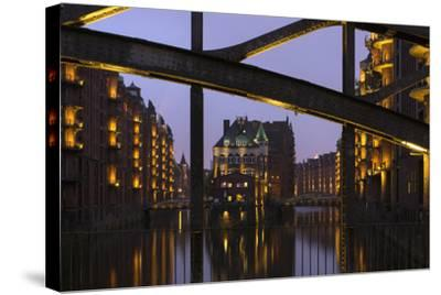 Hamburg, Speicherstadt (City of Warehouses), Dusk, PoggenmŸhlenbrŸcke (Bridge)-Catharina Lux-Stretched Canvas Print