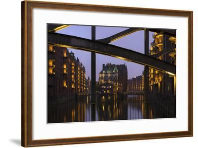Hamburg, Speicherstadt (City of Warehouses), Dusk, PoggenmŸhlenbrŸcke (Bridge)-Catharina Lux-Framed Photographic Print
