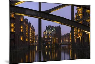 Hamburg, Speicherstadt (City of Warehouses), Dusk, PoggenmŸhlenbrŸcke (Bridge)-Catharina Lux-Mounted Photographic Print