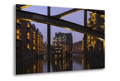 Hamburg, Speicherstadt (City of Warehouses), Dusk, PoggenmŸhlenbrŸcke (Bridge)-Catharina Lux-Metal Print