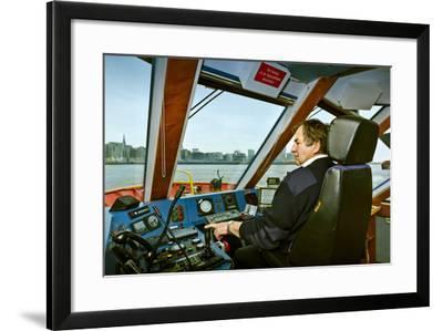 Germany, Hamburg, Elbe, Harbour, Captain, Ferry, Harbour Ferry-Ingo Boelter-Framed Photographic Print