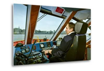 Germany, Hamburg, Elbe, Harbour, Captain, Ferry, Harbour Ferry-Ingo Boelter-Metal Print
