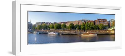 Banks of Weser, Martinianleger (Downtown Pier), Bremen, Germany, Europe-Chris Seba-Framed Photographic Print