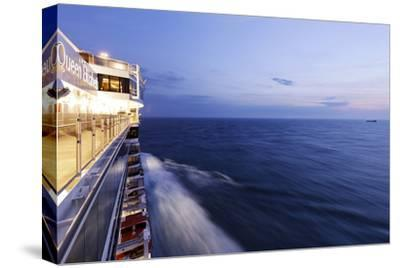 Cruise Ship at Full Speed, the North Sea, Evening, Dusk-Axel Schmies-Stretched Canvas Print