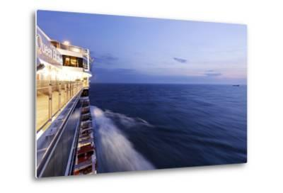 Cruise Ship at Full Speed, the North Sea, Evening, Dusk-Axel Schmies-Metal Print