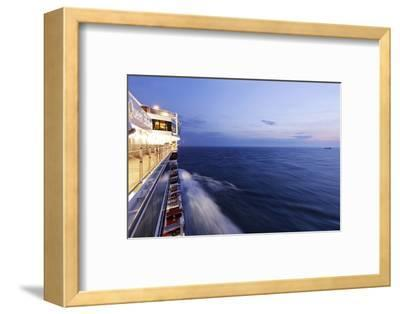 Cruise Ship at Full Speed, the North Sea, Evening, Dusk-Axel Schmies-Framed Photographic Print