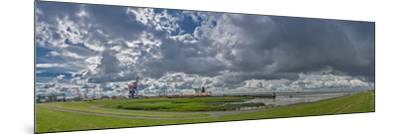 Germany, Schleswig-Holstein, BrunsbŸttel (Town), Dyke, Industry, Lock-Ingo Boelter-Mounted Photographic Print