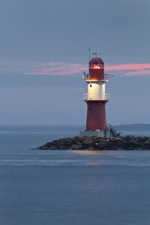 Lighthouse of WarnemŸnde, the East Mole (Jetty), Mecklenburg-Western Pomerania, Germany-Rainer Mirau-Framed Photographic Print