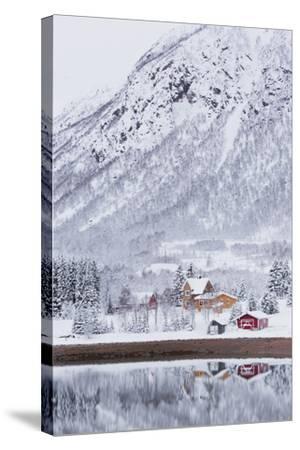 Houses in Fiskefjorden, Hinnoya (Island), Vesteralen, 'Nordland' (County), Norway-Rainer Mirau-Stretched Canvas Print