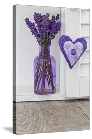 Lavender, Blossoms, Vase, Heart-Andrea Haase-Stretched Canvas Print