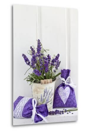 Lavender, Blossoms, Fragrance Sachets, Flowerpot-Andrea Haase-Metal Print