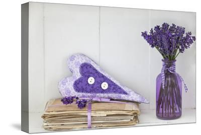 Lavender, Blossoms, Vase, Letters, Heart-Andrea Haase-Stretched Canvas Print