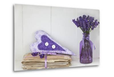 Lavender, Blossoms, Vase, Letters, Heart-Andrea Haase-Metal Print
