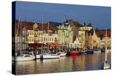 Denmark, Jutland, Sonderborg, Harbour Front, House Facades, Boats-Chris Seba-Stretched Canvas Print