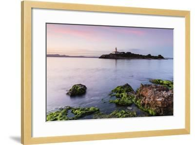 View over the Sea on the Lighthouse of the Island Illa D'Alcanada, Daybreak, Alcanada-P. Kaczynski-Framed Photographic Print