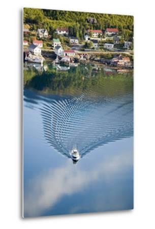 Scandinavia, Norway, Lofoten, Moskenesoey, Pure, Fisher-Place, Lake, Boat, Drives-Rainer Mirau-Metal Print