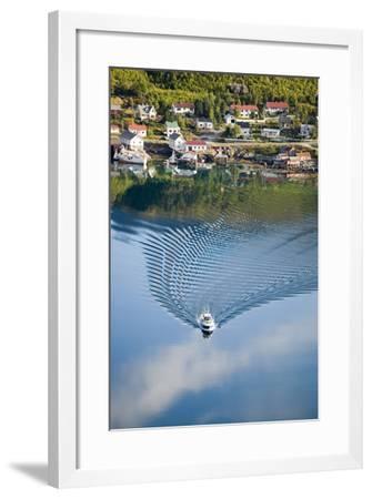 Scandinavia, Norway, Lofoten, Moskenesoey, Pure, Fisher-Place, Lake, Boat, Drives-Rainer Mirau-Framed Photographic Print