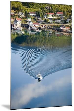 Scandinavia, Norway, Lofoten, Moskenesoey, Pure, Fisher-Place, Lake, Boat, Drives-Rainer Mirau-Mounted Photographic Print