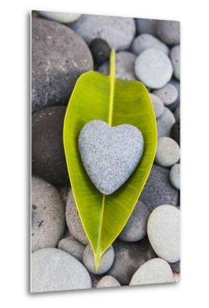 Heart Made of Stone on Green Leaves-Uwe Merkel-Metal Print
