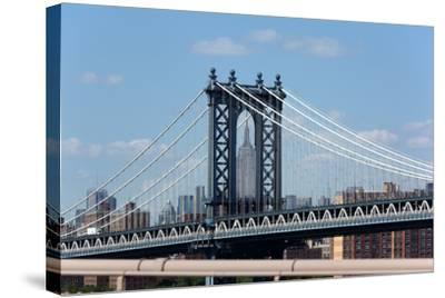 USA, New York City, Manhattan, Manhattan Bridge and Skyline, View from Brooklyn Bridge-Catharina Lux-Stretched Canvas Print