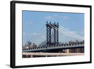 USA, New York City, Manhattan, Manhattan Bridge and Skyline, View from Brooklyn Bridge-Catharina Lux-Framed Photographic Print