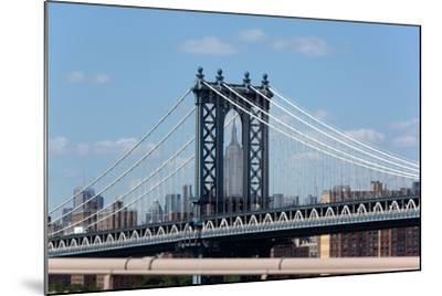 USA, New York City, Manhattan, Manhattan Bridge and Skyline, View from Brooklyn Bridge-Catharina Lux-Mounted Photographic Print