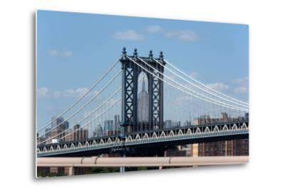 USA, New York City, Manhattan, Manhattan Bridge and Skyline, View from Brooklyn Bridge-Catharina Lux-Metal Print