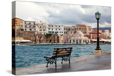 Greece, Crete, Chania, Venetian Harbour, Waterside Promenade, Bench-Catharina Lux-Stretched Canvas Print