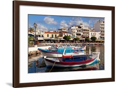 Greece, Crete, Agios Nikolaos, Lake Voulismeni, Fishing Boats-Catharina Lux-Framed Photographic Print