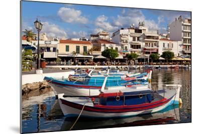 Greece, Crete, Agios Nikolaos, Lake Voulismeni, Fishing Boats-Catharina Lux-Mounted Photographic Print
