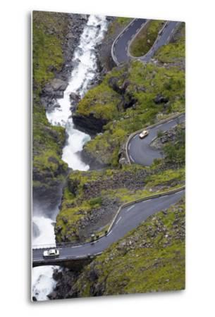 Scandinavia, Norway, Troll-Steep Track, Mountain-Passport, Serpentine, River Bed-Rainer Mirau-Metal Print