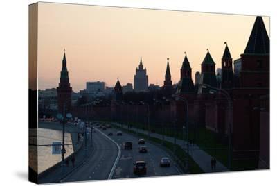 Moscow, Kremlin Shore, Riverside Road, Dusk, Silhouettes-Catharina Lux-Stretched Canvas Print