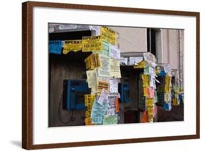Moscow, Slips of Paper and Messages at Telephone Boxes-Catharina Lux-Framed Photographic Print