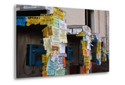 Moscow, Slips of Paper and Messages at Telephone Boxes-Catharina Lux-Metal Print