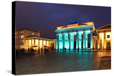 Berlin, the Brandenburg Gate, Night Photography-Catharina Lux-Stretched Canvas Print