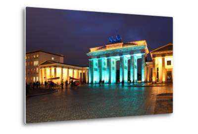 Berlin, the Brandenburg Gate, Night Photography-Catharina Lux-Metal Print