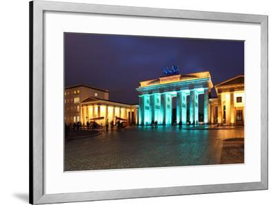 Berlin, the Brandenburg Gate, Night Photography-Catharina Lux-Framed Photographic Print