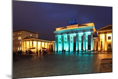 Berlin, the Brandenburg Gate, Night Photography-Catharina Lux-Mounted Photographic Print