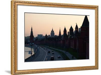 Moscow, Kremlin Shore, Riverside Road, Dusk, Silhouettes-Catharina Lux-Framed Photographic Print