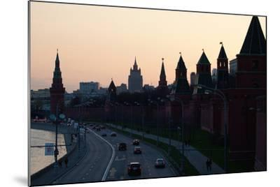 Moscow, Kremlin Shore, Riverside Road, Dusk, Silhouettes-Catharina Lux-Mounted Photographic Print