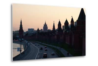 Moscow, Kremlin Shore, Riverside Road, Dusk, Silhouettes-Catharina Lux-Metal Print