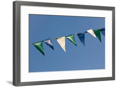 Baltic Sea Spa Wustrow, Marina, Chain of Pennants, Blue Sky-Catharina Lux-Framed Photographic Print