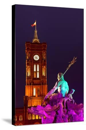 Germany, Berlin, Alexanderplatz Square, Christmas Fair, Illuminated Fountain of Neptune, Evening-Catharina Lux-Stretched Canvas Print