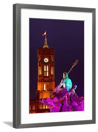 Germany, Berlin, Alexanderplatz Square, Christmas Fair, Illuminated Fountain of Neptune, Evening-Catharina Lux-Framed Photographic Print