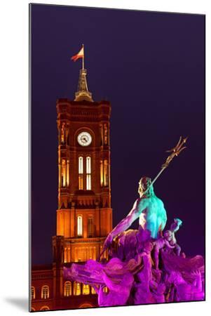 Germany, Berlin, Alexanderplatz Square, Christmas Fair, Illuminated Fountain of Neptune, Evening-Catharina Lux-Mounted Photographic Print