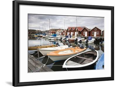 Sweden, BohuslŠn, Fishing Settlement RšnnŠng, Harbour, Boats, Houses-Frank Lukasseck-Framed Photographic Print